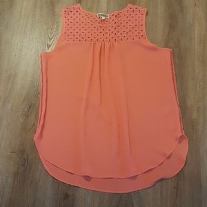NWOT Pleione Coral Sleeveless Blouse Sz. L